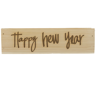 Engraved Wine Box - Happy New Year Design
